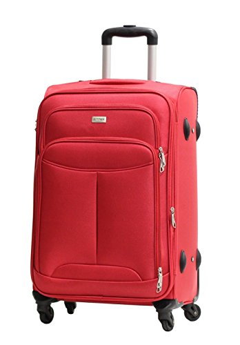Valise Alistair One 65cm rouge Toile Nylon Ultra Leger 4 Roues