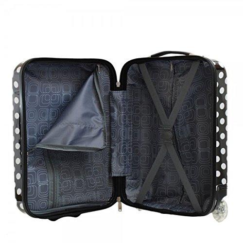 Valise cabine femme Madisson 50 cm noire blanc interieur