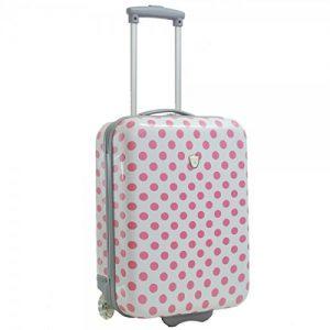 Valise cabine femme Madisson 50 cm blanc rose
