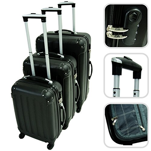 set de valises rigides noires