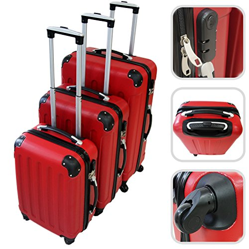 bagages de voyage set de valises todeco rouges bagages de voyage. Black Bedroom Furniture Sets. Home Design Ideas